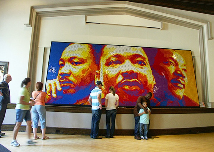 4242 Rubik's Cubes were used to create this triple portrait of Dr Martin Luther King Jr
