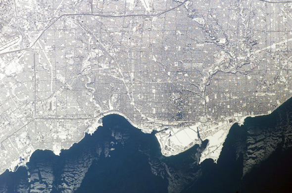 Toronto by snow from space