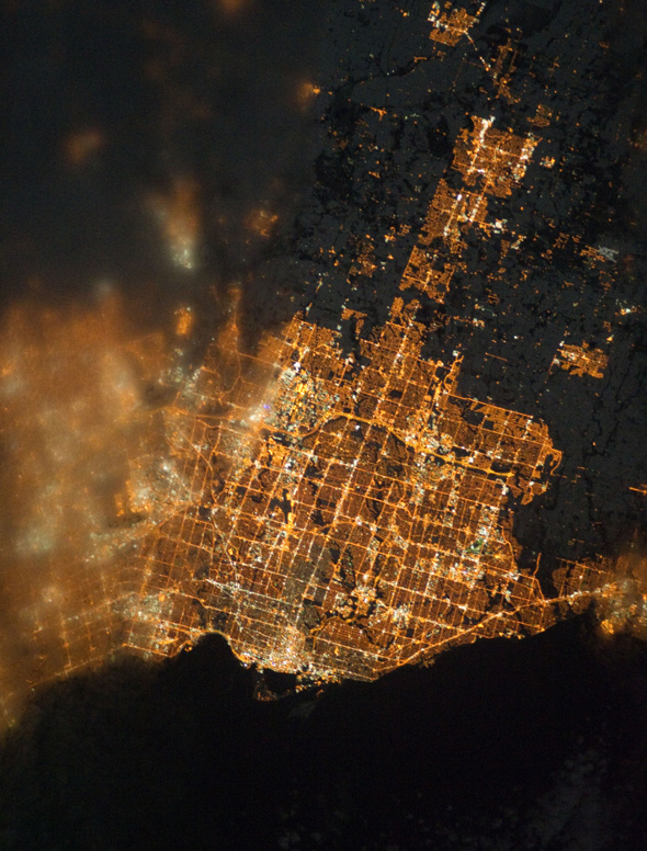 Toronto by night from space